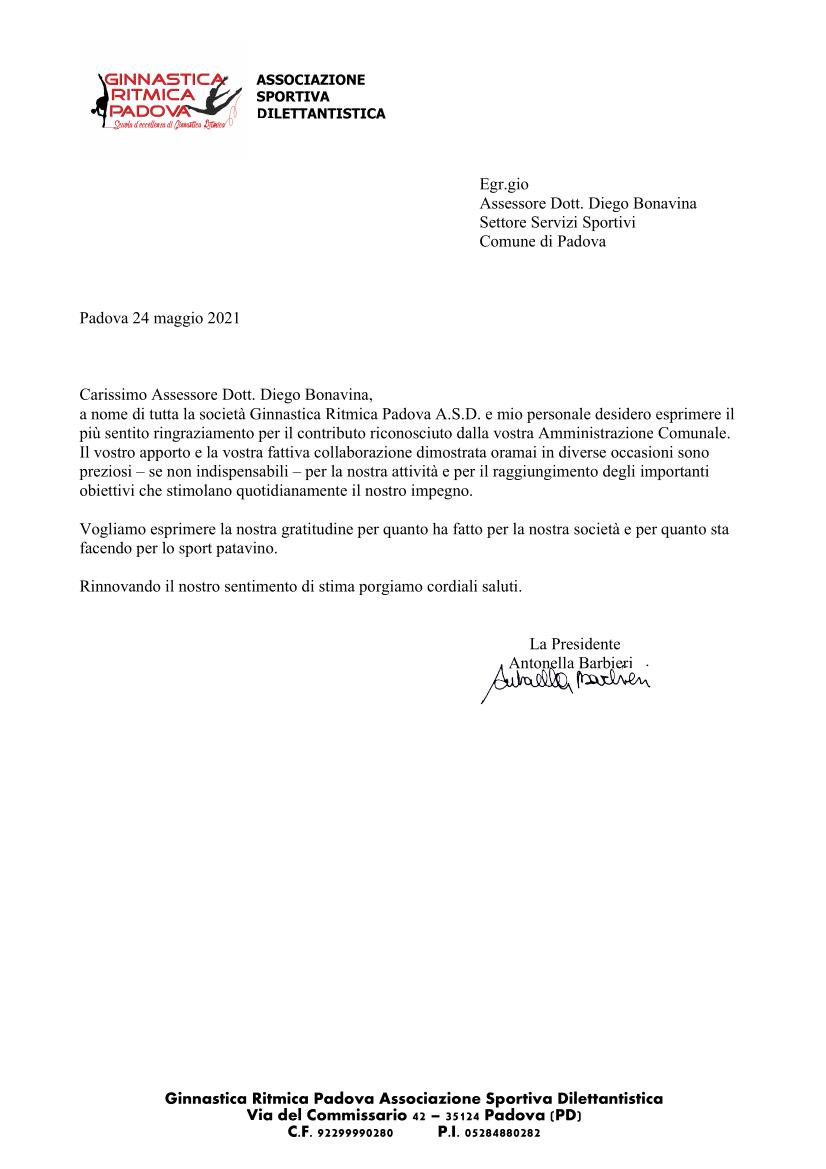 La GRP ringrazia l'amministrazione comunale